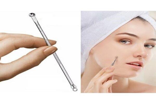 Sử dụng dụng cụ nặn mụn đầu tròn giúp xử lý mụn đầu đen dễ dàng