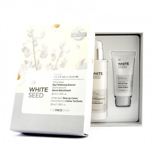 Bộ serum và kem dưỡng trắng da The Face Shop White seed