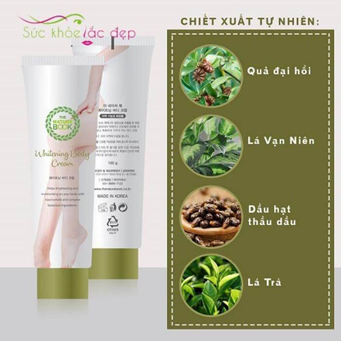 Kem dưỡng da body The Nature Book Whitening Body Cream