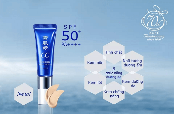 Kem trang điểm CC Kose Sekkisei White Cream SPF50+